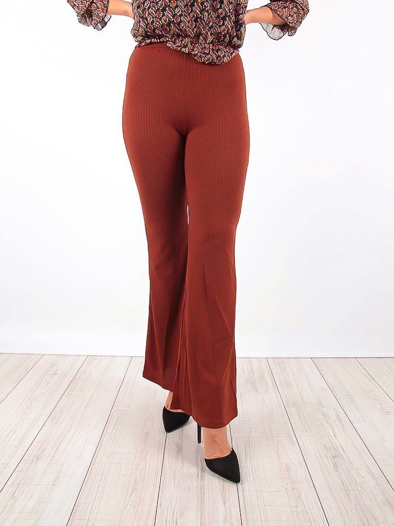 VINTAGE DRESSING -LADYLIKE FASHION Ribbed Flared Trousers Brown
