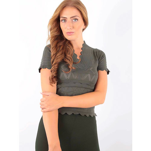 LADYLIKE FASHION Lace Knitted V-Neckline Shirt Green
