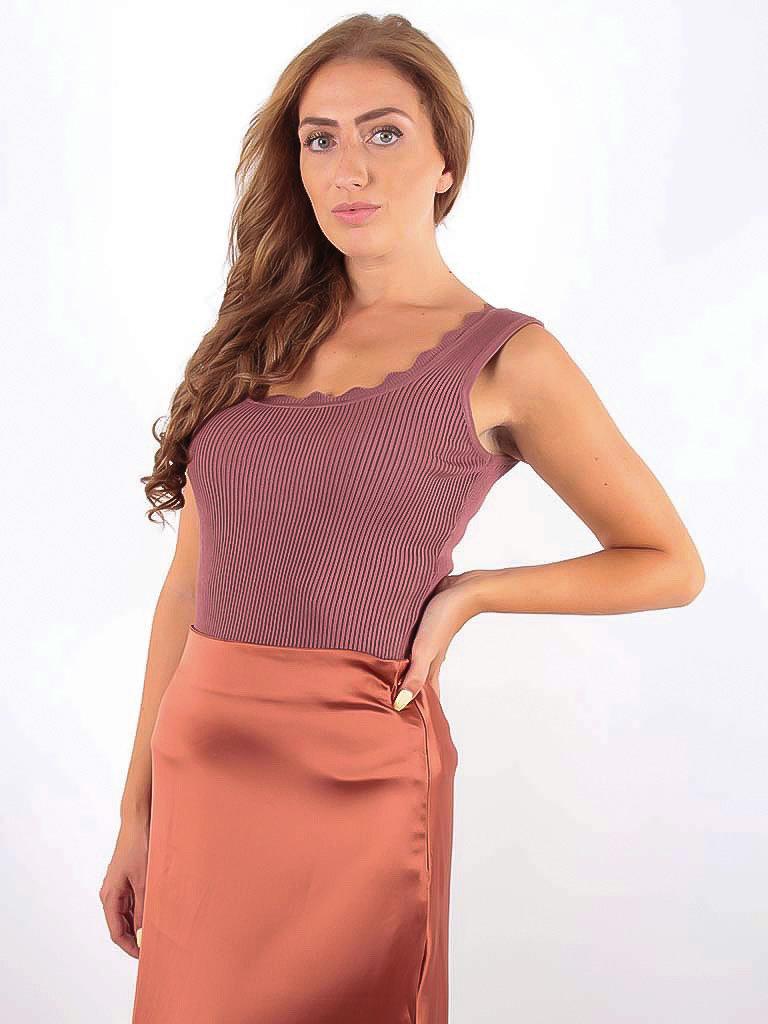 VINTAGE DRESSING -LADYLIKE FASHION Rib Top Pink