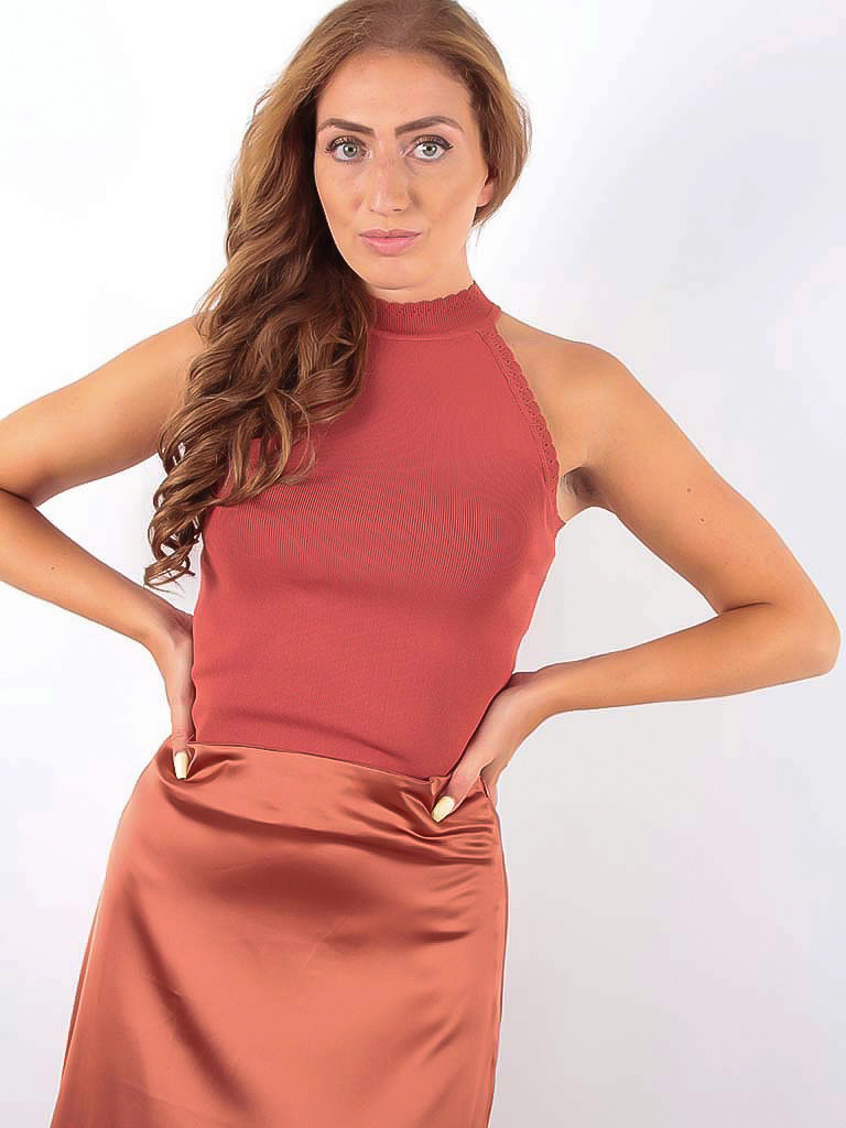 VOYELLES - LADYLIKE FASHION Knitted Neck Top Brown