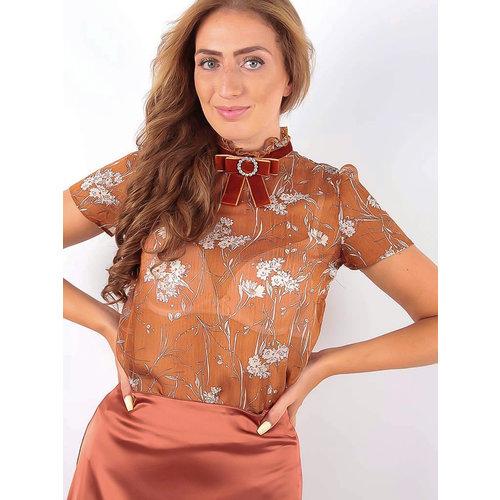 MISSKOO Short Sleeve Blouse with Velvet Orange