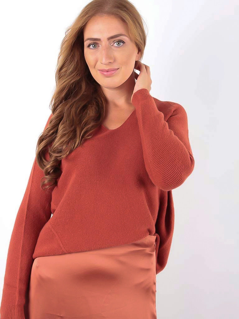 LADYLIKE FASHION Ribbed Jumper V-Neck Brown