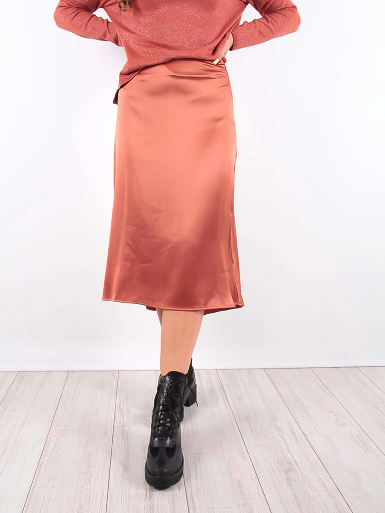 Satin Midi Skirt Orange