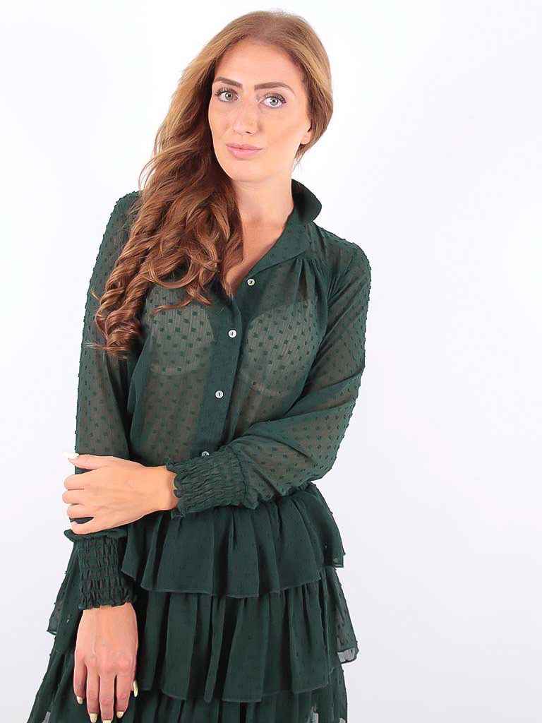 Vintage Dressing Blouse Green Dot Printed