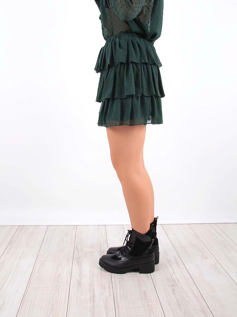 VINTAGE DRESSING Ruffle Skirt Green Dots