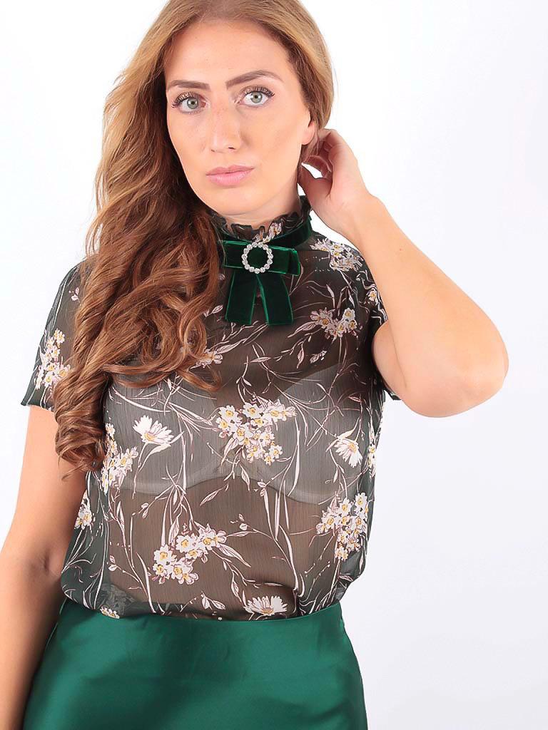 LADYLIKE FASHION Short Sleeve Blouse with Velvet Green