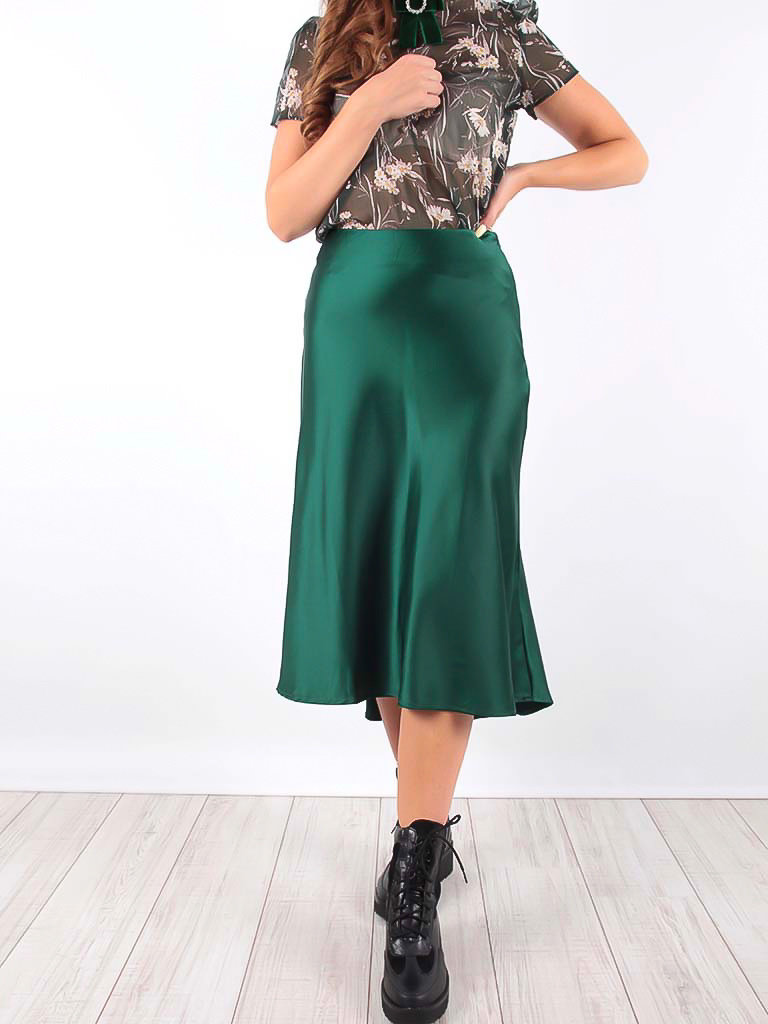 Satin Midi Skirt Green