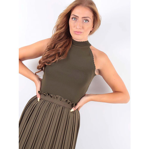 VOYELLES Knitted Neck Top Khaki