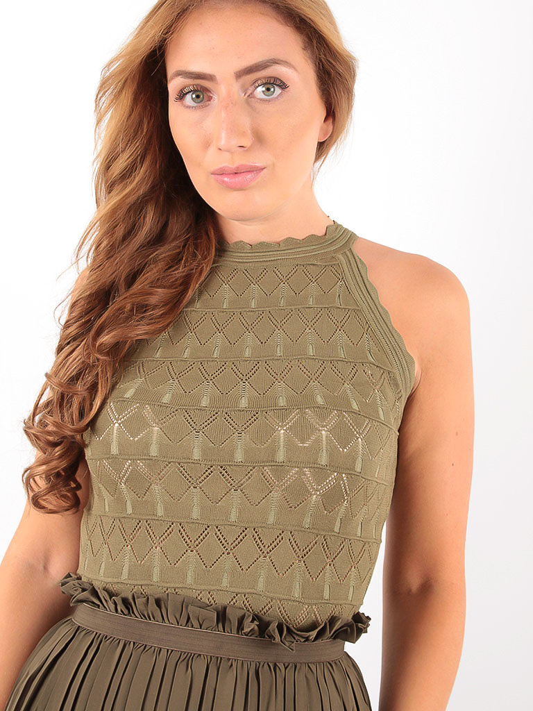 GIORGIA Ajour knitted Top Green