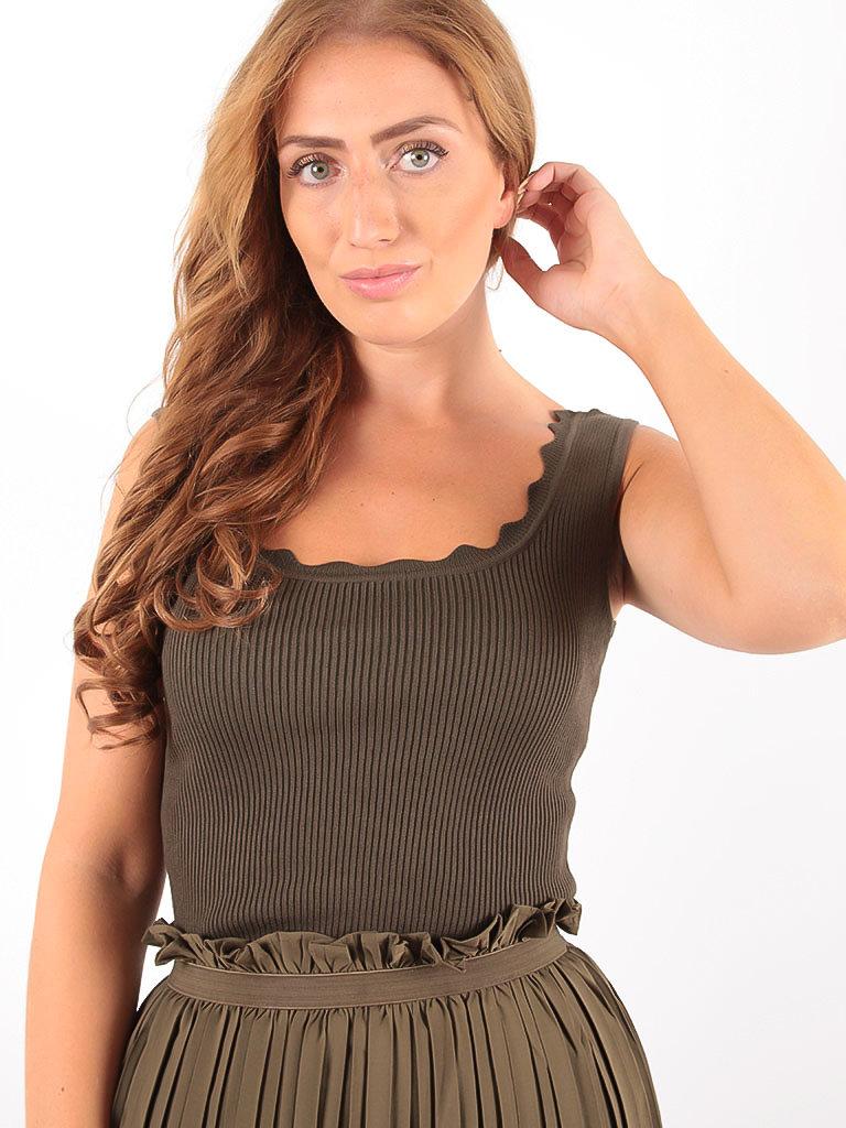 VINTAGE DRESSING -LADYLIKE FASHION Rib Top Kaki