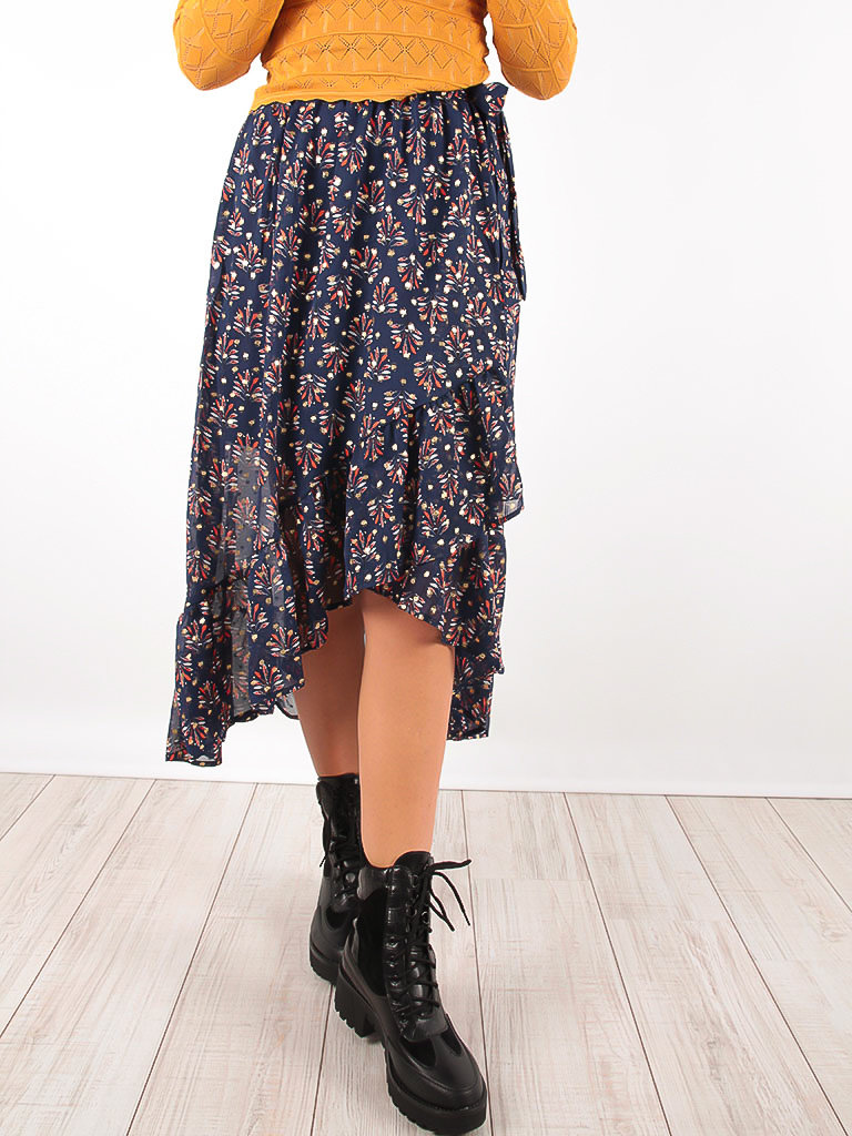 Floral Waterfall Wrap Skirt Blue