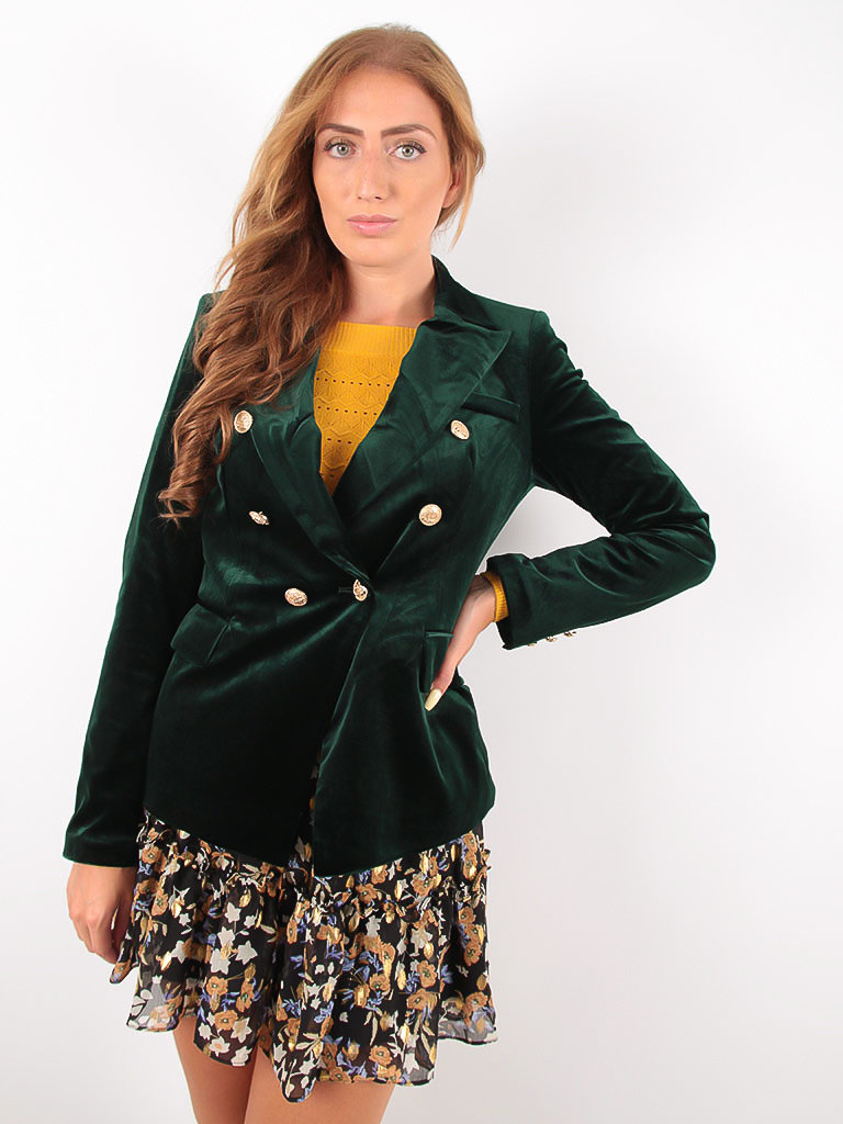 Velvet Double Breast Golden Button Blazer Green