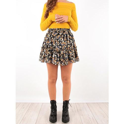 LADYLIKE FASHION Ruffled Skirt Gold Print Black