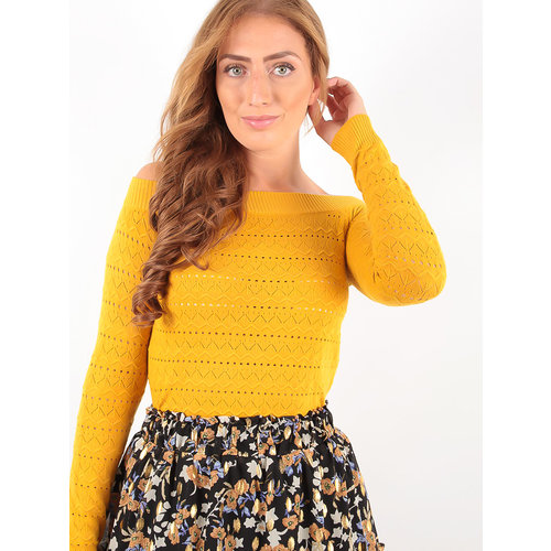 LADYLIKE FASHION Broderie Knitted Long Sleeve Jumper Yellow