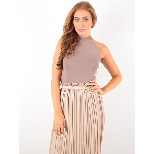 VOYELLES Knitted Neck Top Beige