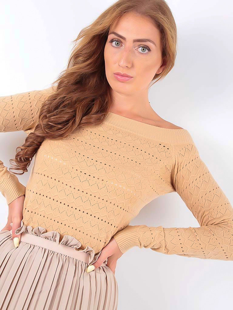 LADYLIKE FASHION Broderie Knitted Long Sleeve Jumper Beige