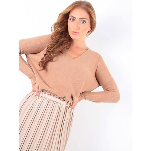 LADYLIKE FASHION Ribbed Jumper V-Neck Camel