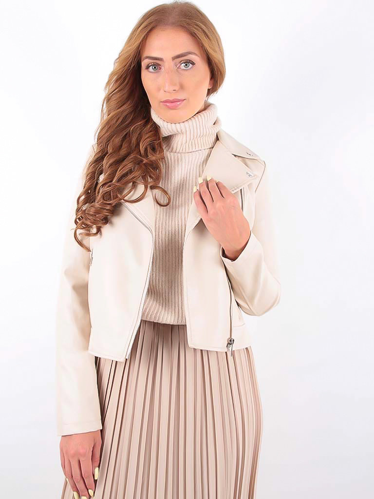 LADYLIKE FASHION Biker Jacket Beige
