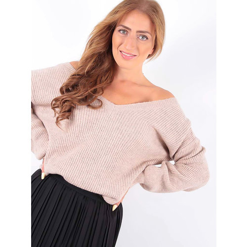 LADYLIKE FASHION Knit Jumper V-Neck Soft Pink