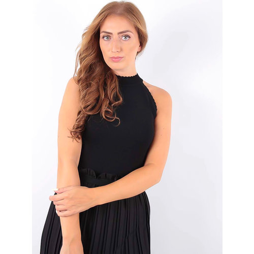 LADYLIKE FASHION Knitted Neck Top Black