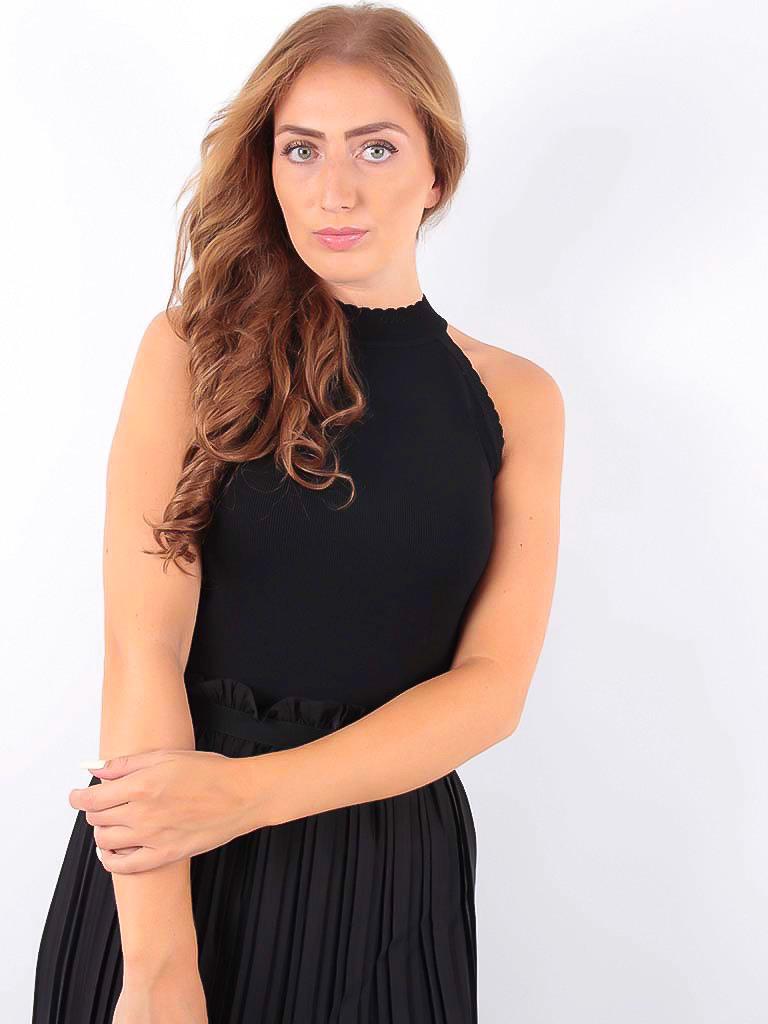VOYELLES - LADYLIKE FASHION Knitted Neck Top Black