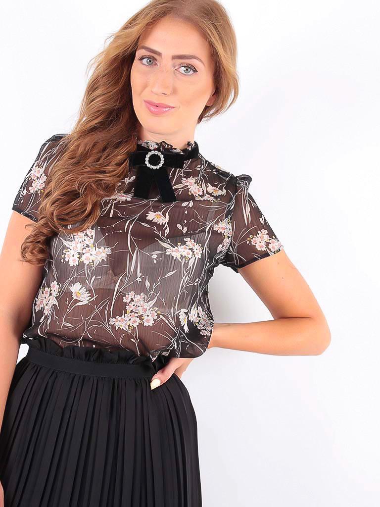 MISSKOO Short Sleeve Blouse with Velvet Black