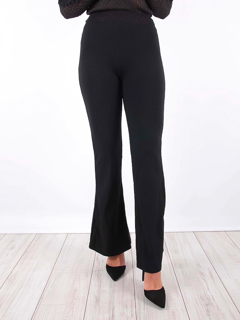 LADYLIKE FASHION Ribbed Flared Trousers Black