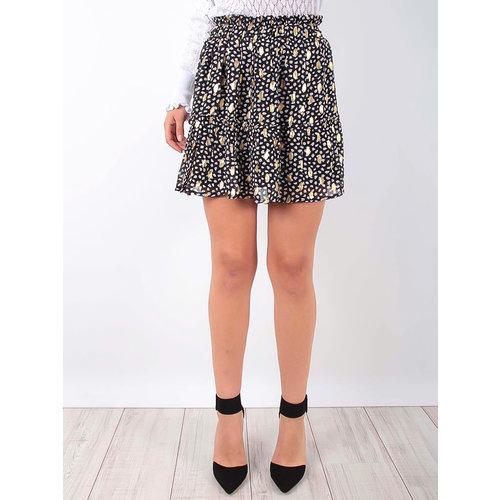LADYLIKE FASHION Ruffled Skirt With Gold Detail Black