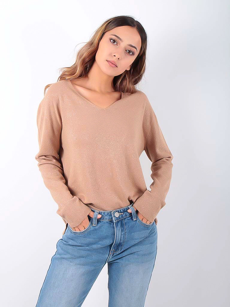 LADYLIKE FASHION Glitter Jumper V-Neck Camel
