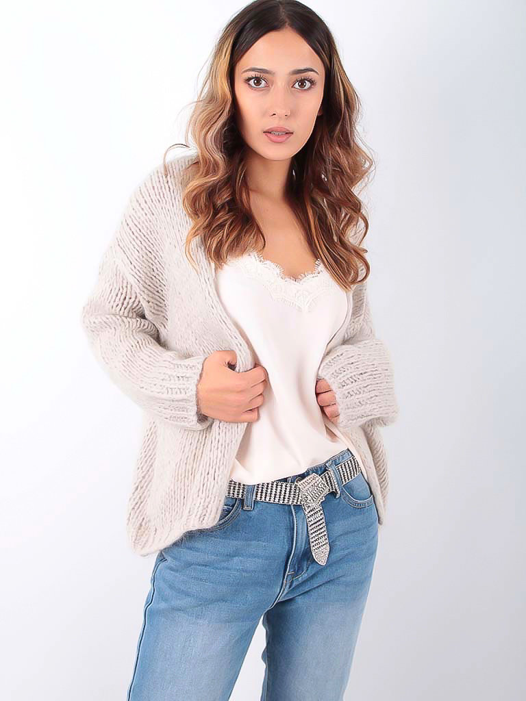 ALEXANDRE LAURENT - LADYLIKE FASHION Knitted Cardigan Sand