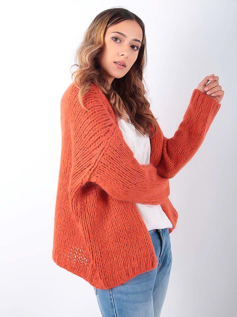 LADYLIKE FASHION Knitted Cardigan Orange