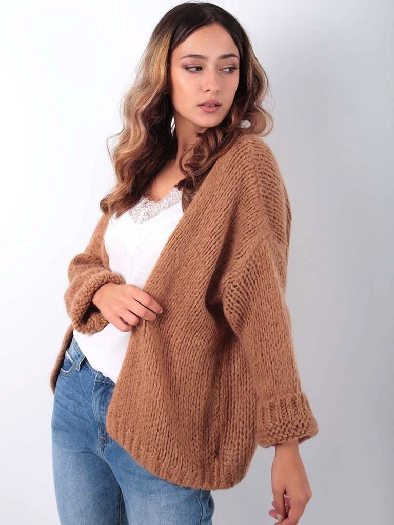 LADYLIKE FASHION Knitted Cardigan Brown