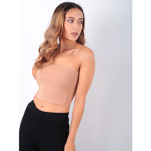 VERA & LUCY Ribbed Bandeau Top Beige