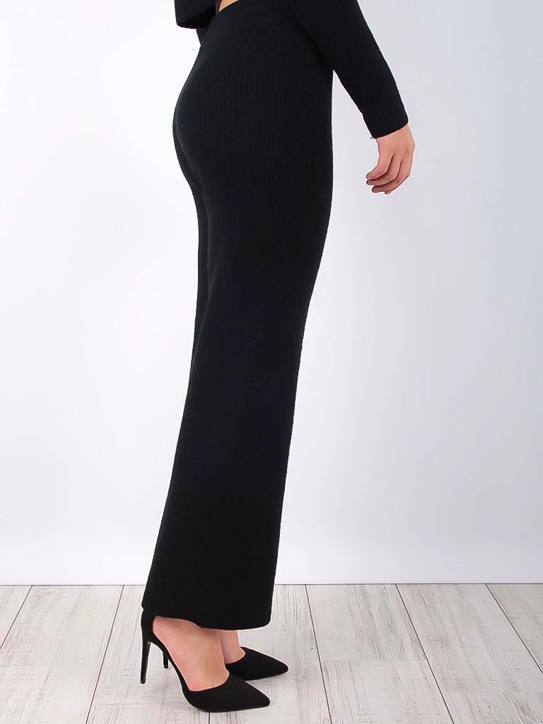 LAETITIA MEM - LADYLIKE FASHION Ribbed Trousers Black