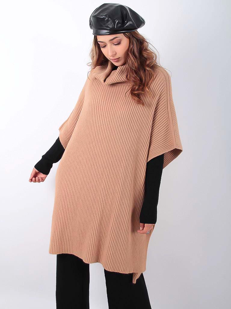 LADYLIKE FASHION Knitted Poncho Camel