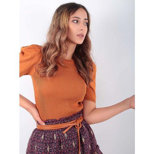 LADYLIKE FASHION Puffed Sleeve Knit Jumper Camel
