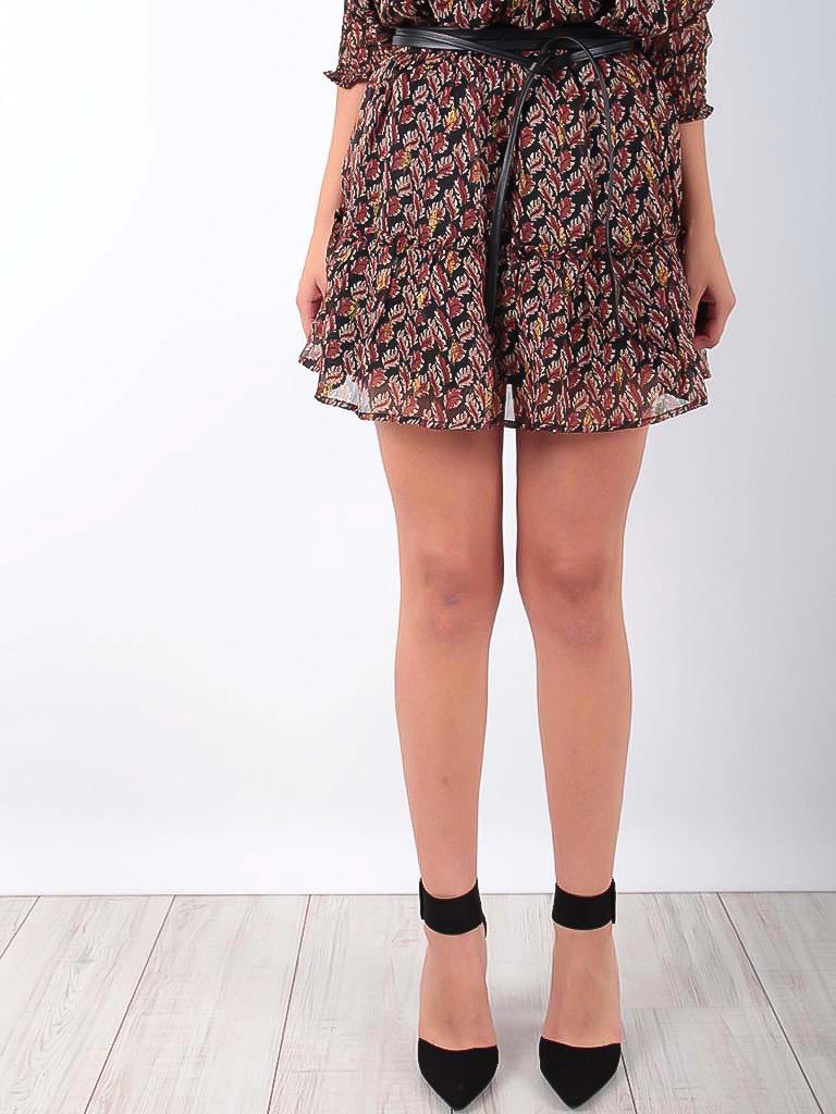 VINTAGE DRESSING -LADYLIKE FASHION Ruffled Skirt Gold Leaves Print Brown