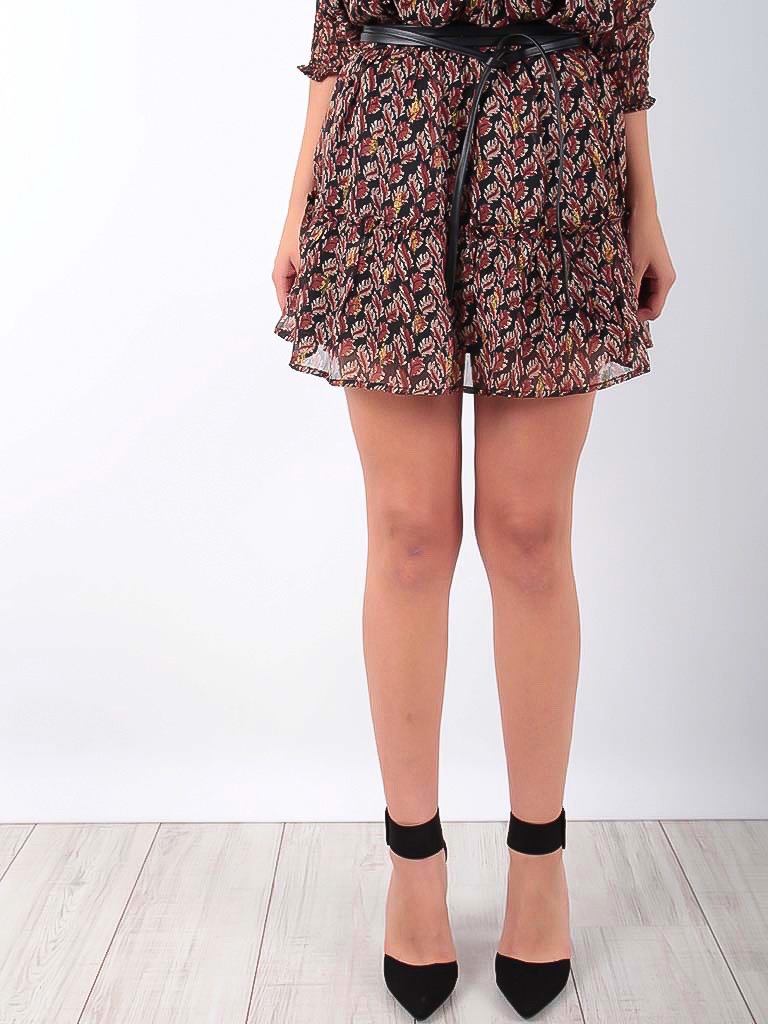 VINTAGE DRESSING Ruffled Skirt Gold Leaves Print Brown