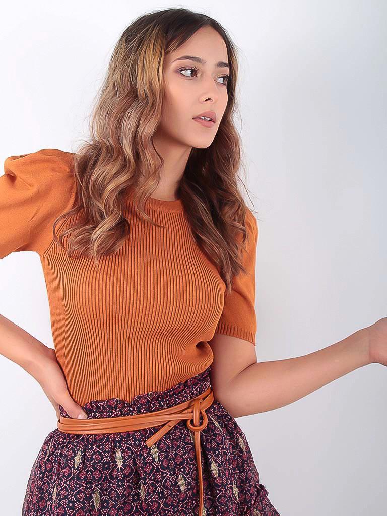 LADYLIKE FASHION Leather Lace Belt Camel