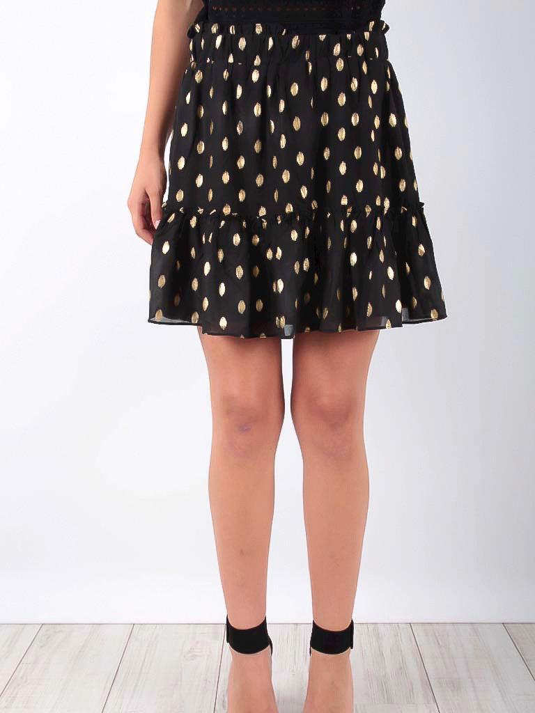 LADYLIKE FASHION Gold Dotted Skirt Black