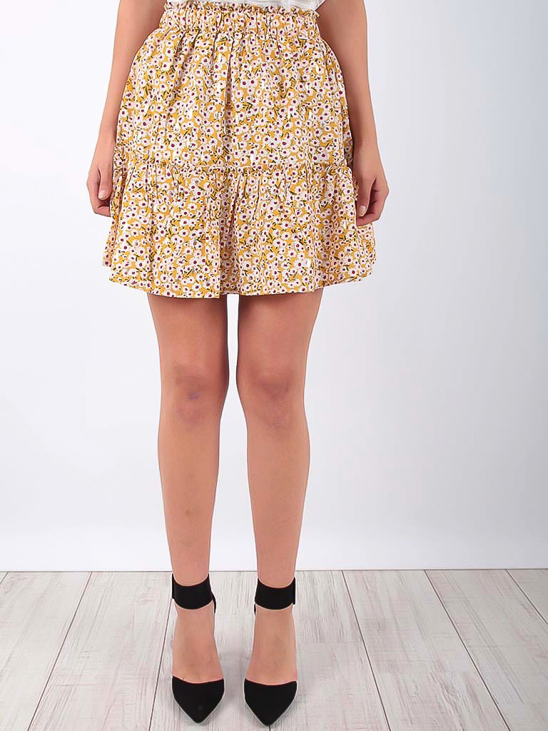 VINTAGE DRESSING Little Floral Print Ruffled Skirt Yellow