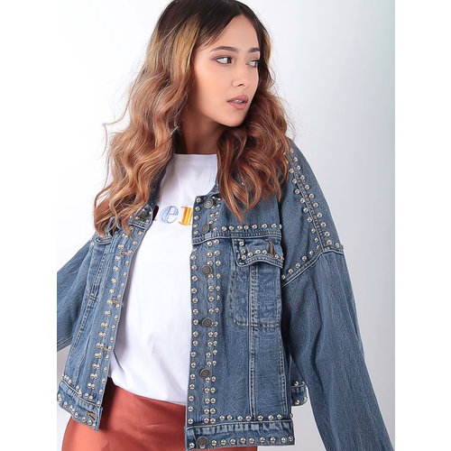 LADYLIKE FASHION Studded Denim Jacket Blue