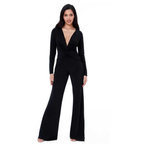 LADYLIKE FASHION Knot Front Open Back Jumpsuit