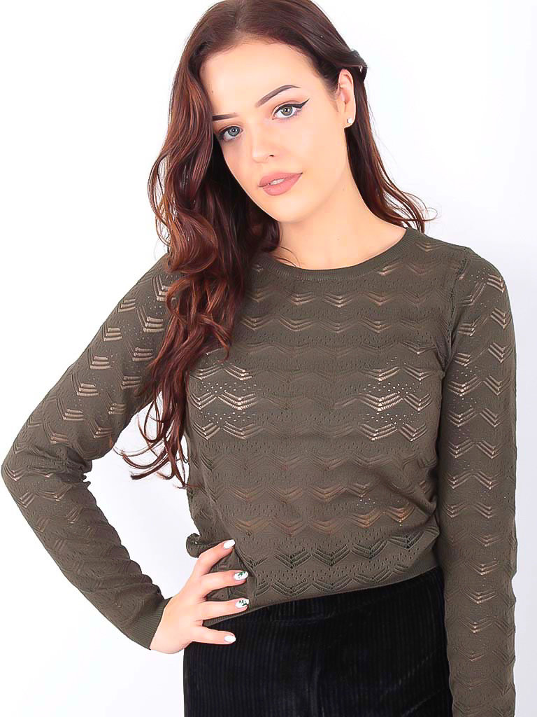 BY CLARA Lace Knitted Jumper Green