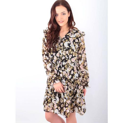 DRŌLE DE  COPINE Floral Print Shirt Dress Black