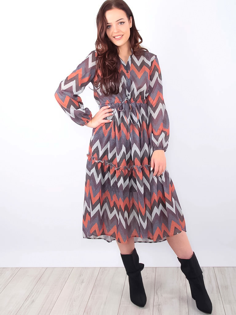 LADYLIKE FASHION Ziggy Long Glitter Dress Grey