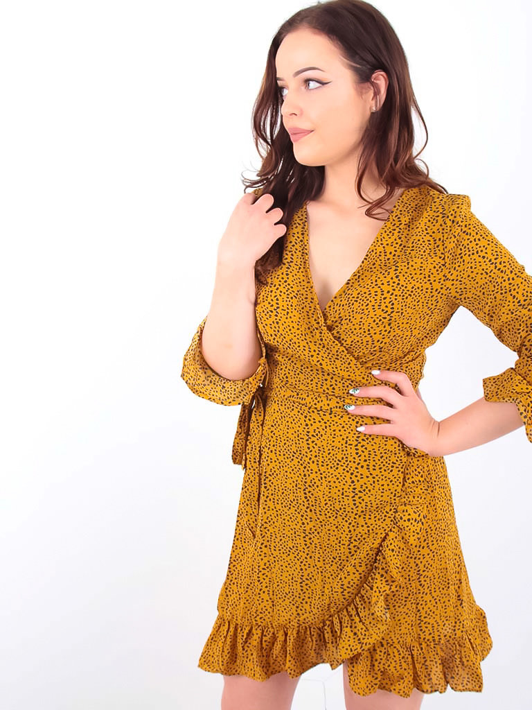BY CLARA Little Dots Wrap Dress Mustard