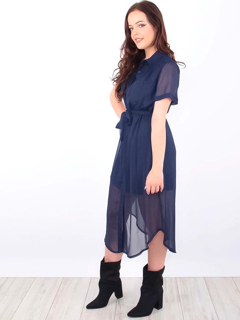 LADYLIKE FASHION Midi Shirt Dress Gold Shimmer Blue