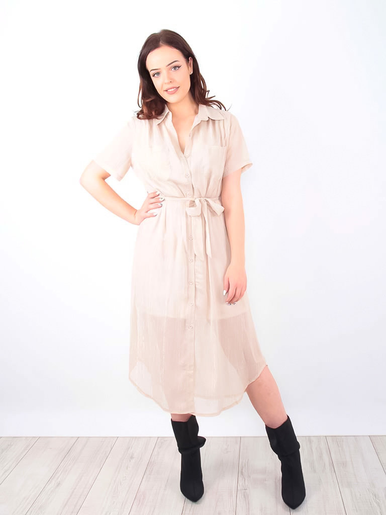 LADYLIKE FASHION Midi Shirt Dress Gold Shimmer Beige