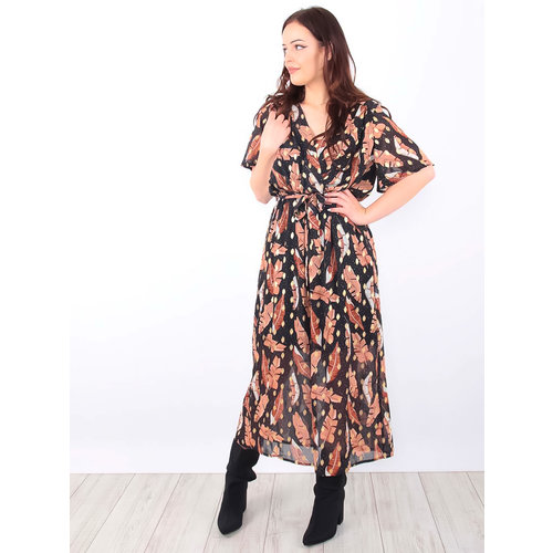 LADYLIKE FASHION Leaves Printed Maxi Dress Black